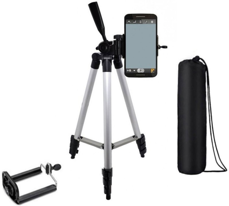 BAGATELLE Tripod-3110 Lightweight Camera Tripod Stand With Three-Dimensional Head & Quick Release Plate Tripod(Silver, Black, Supports Up to 1500 g) 1